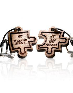 Schlüsselanhänger aus Holz 2-teiliges Set: PIECE OF ME