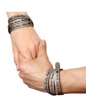 Wickelarmband mit Gravur aus Leder | 2-teiliges Set - Grau