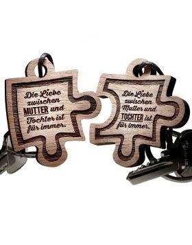 Schlüsselanhaenger Puzzle aus Holz - Mutter und Tochter
