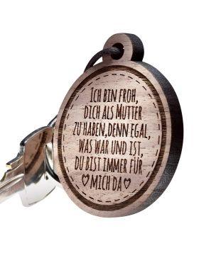 Schlüsselanhänger Holz rund mit Gravur zum Muttertag