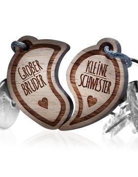 Schlüsselanhänger graviert - Großer Bruder - Kleine Schwester