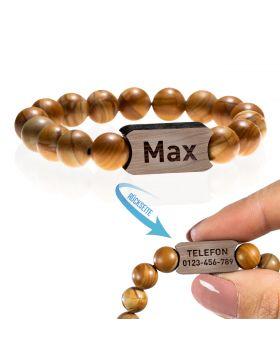Armband für Kinder aus Naturstein Perlen, Modell: Little Brownie