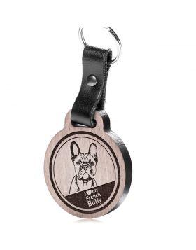 I love my French Bully - Schlüsselanhänger mit Gravur - Französische Bulldogge