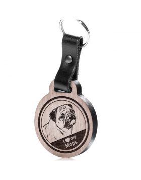 I love my Mops - Schlüsselanhänger mit Gravur - Mops