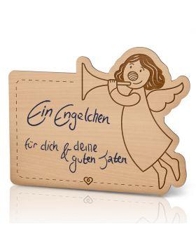 Lebenslicht Engelsruf - Postkarte aus Holz zum selbst beschriften | Das ultimative Geschenk