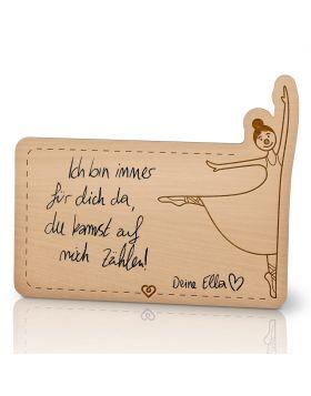 Lebenslicht Tänzerin - Postkarte aus Holz zum selbst beschriften | Das ultimative Geschenk