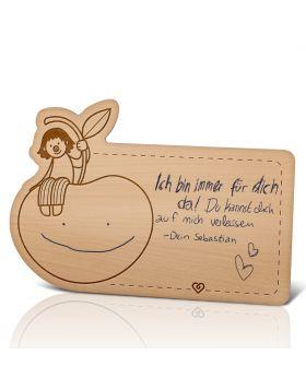 Lebenslicht Cherry Lady - Postkarte aus Holz zum selbst beschriften | Das ultimative Geschenk