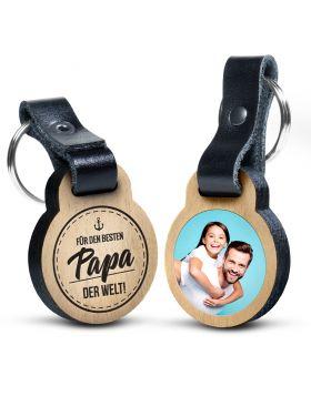 Für den besten Papa der Welt - Foto-Schlüsselanhänger aus Eichenholz mit Gravur und kratzfestem Foto in Farbe