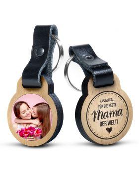 Für die beste Mama der Welt -  Foto-Schlüsselanhänger aus Eichenholz mit Gravur und kratzfestem Foto in Farbe