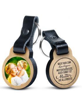Nicht nur zum heutigen Muttertagsfeste - Foto Schlüsselanhänger aus Eichenholz