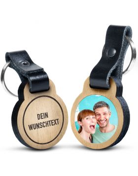 Foto-Schlüsselanhänger aus Eichenholz mit deinem eigenen Wunschtext und deinem Foto in Farbe