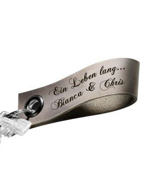 Schlüsselanhänger mit Gravur aus Leder | Farbe: Grau