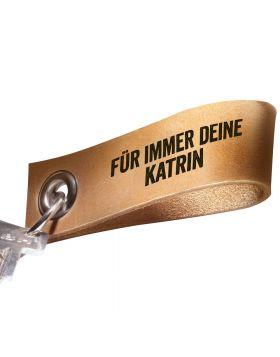 Schlüsselanhänger mit Gravur aus Leder | Farbe: Natur