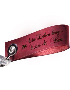 Gravierter Schlüsselanhänger aus Leder Rot | Bordeaux