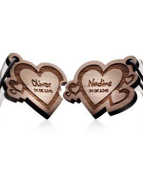 Schlüsselanhänger aus Holz 2-teiliges Set: FUSION OF LOVE