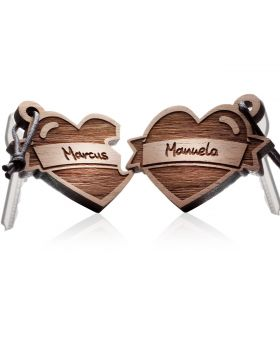 Schlüsselanhänger aus Holz 2-teiliges Set: LOVE TATTOO