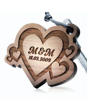 Schlüsselanhänger aus Holz Modell: FUSION OF LOVE
