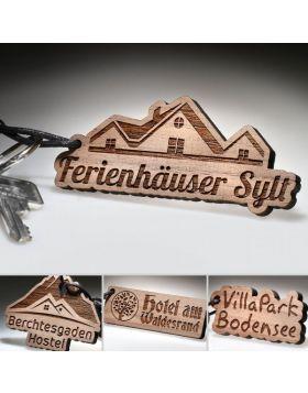 Echtholz Hotel Schlüsselanhänger | individuelle Gravur Zimmerschlüsselanhänger