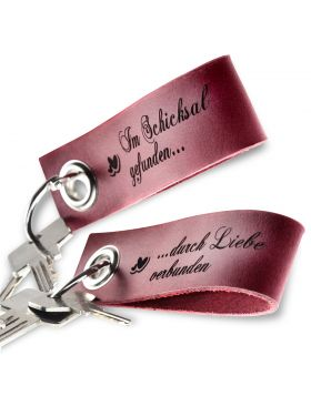 Gravierte Schlüsselanhänger aus Leder 2-teiliges Set | Bordeaux