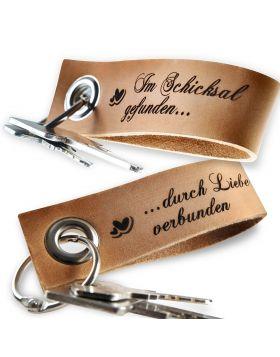Gravierte Schlüsselanhänger aus Leder 2-teiliges Set | Natur-Beige