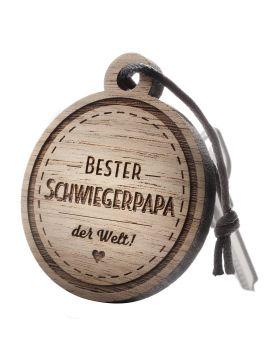 Schlüsselanhänger mit Gravur: Bester Schwiegerpapa der Welt!