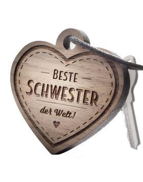 Schlüsselanhänger mit Gravur: Beste Schwester der Welt!
