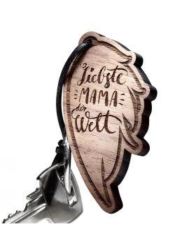 Schlüsselanhänger aus Holz Engel Flügel -  Gravur Mutter