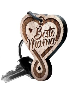 Schlüsselanhänger aus Holz –  Herz Endlosschleife Gravur Beste Mama
