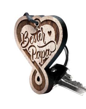 Schlüsselanhänger aus Holz –  Herz Endlosschleife Gravur Bester Papa