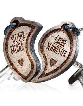Kleiner Bruder - Große Schwester Schlüsselanhänger graviert