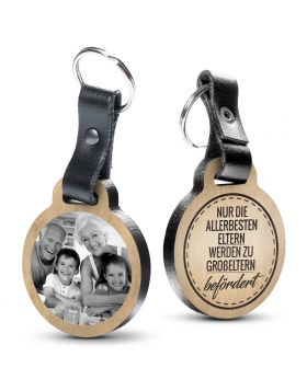 Nur die allerbesten Eltern werden zu Großeltern befördert - Fotogravur Schlüsselanhänger