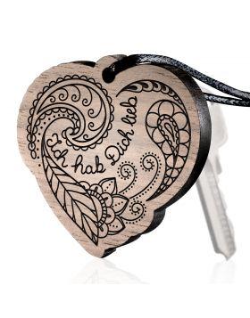 Ich hab dich lieb Schlüsselanhänger Holz mit Gravur im Tattoo-Design