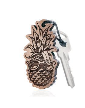 Ananas Schlüsselanhänger aus Holz mit Gravur