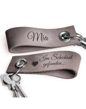 Beidseitig gravierter Schlüsselanhänger aus Leder | Farbe: Grau solo