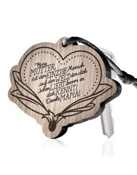 Eine Mutter ist der einzige Mensch auf der Welt, der dich schon liebt bevor er dich kennt! Danke Mama! Schlüsselanhänger mit Gravur