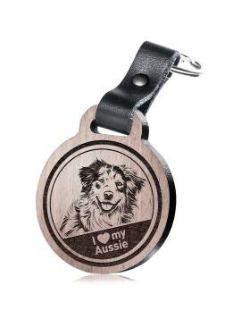 I love my Aussie - Schlüsselanhänger mit Gravur - Australian Shepherd
