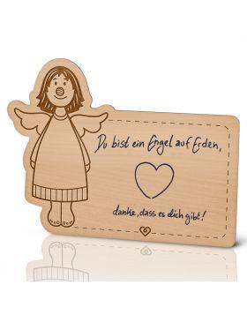 Lebenslicht Engelchen - Postkarte aus Holz zum selbst beschriften | Das ultimative Geschenk