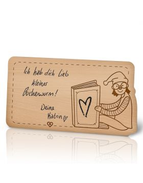 Lebenslicht Bücherwurm - Postkarte aus Holz zum selbst beschriften | Das ultimative Geschenk