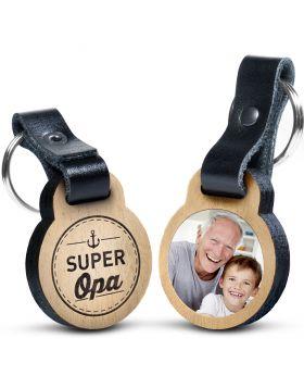 Super Opa - Foto-Schlüsselanhänger aus Eichenholz mit Gravur und kratzfestem Foto in Farbe
