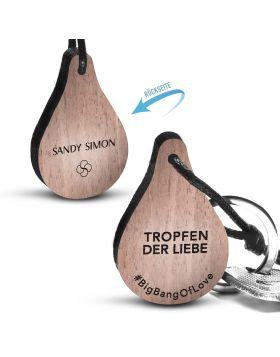 Holzschlüsselanhänger mit Rückseitengravur - Tropfen der Liebe